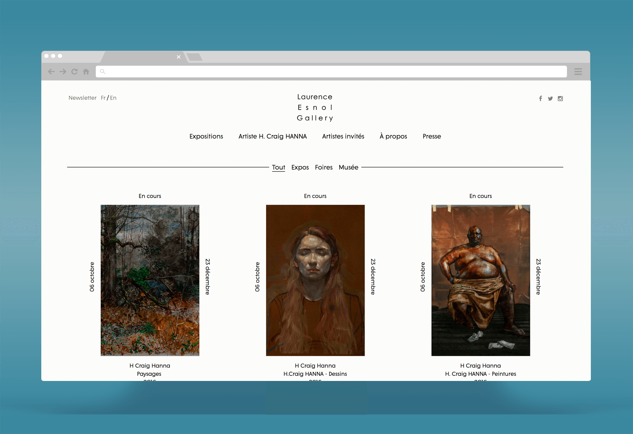 Laurence Esnol Gallery : Développement d'un site Wordpress