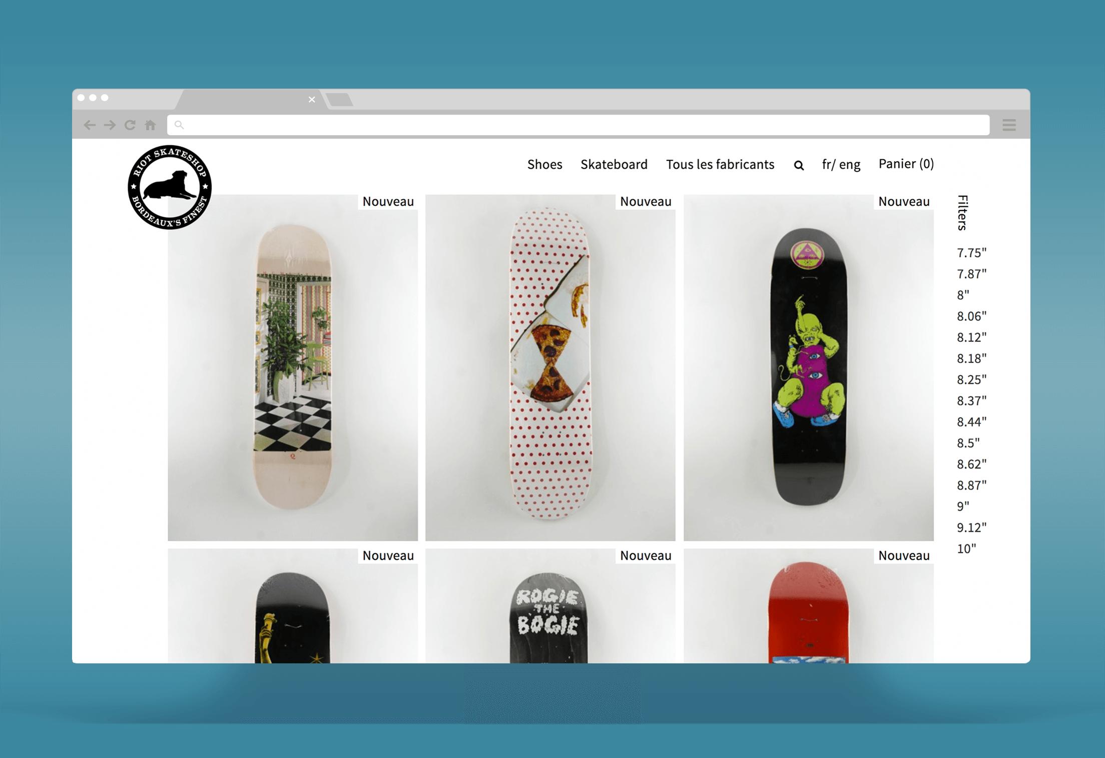 Riot Skateshop : Développement d'une boutique Prestashop