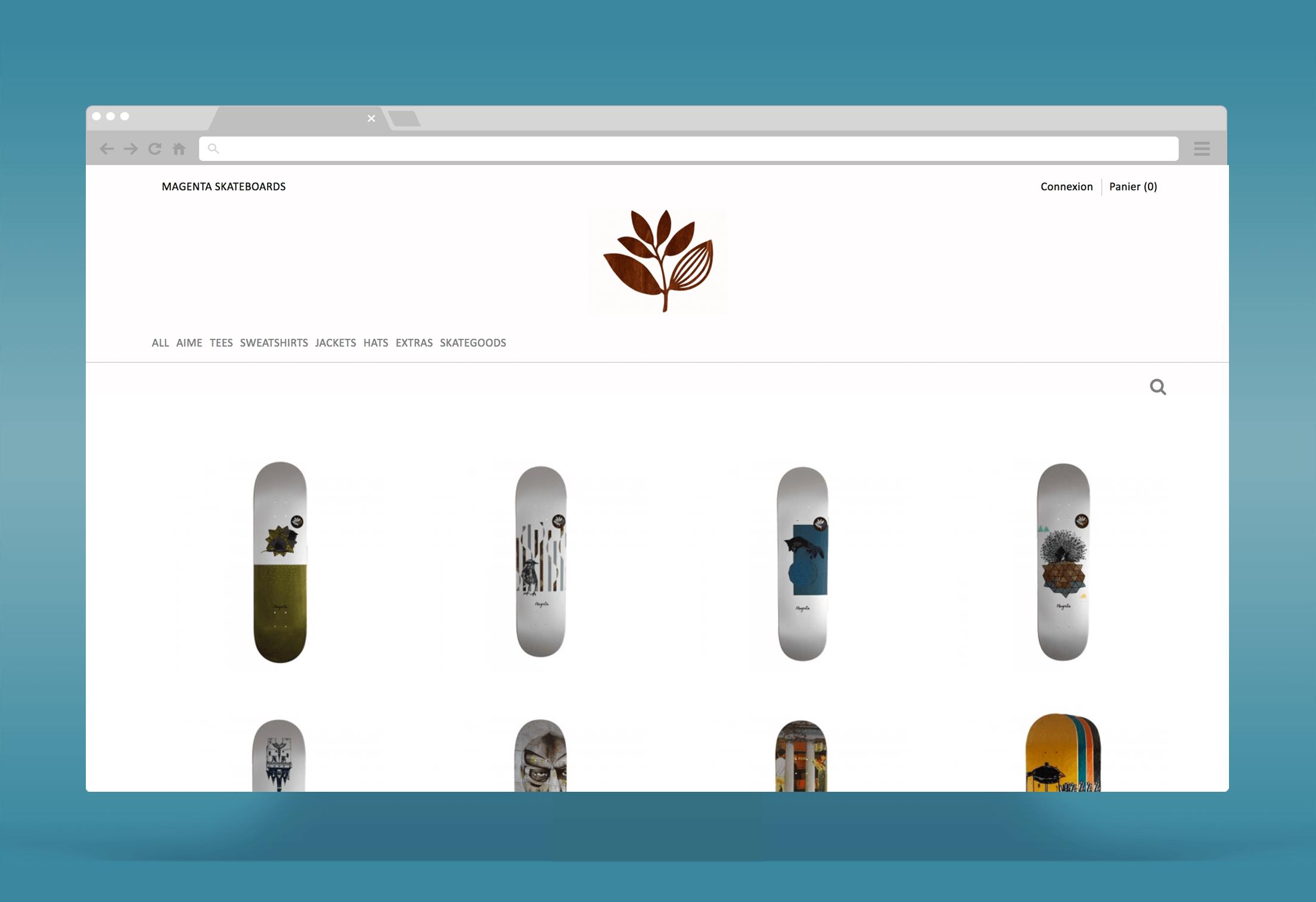 Magenta Skateboards : Développement d'une boutique Prestashop et d'un blog Wordpress